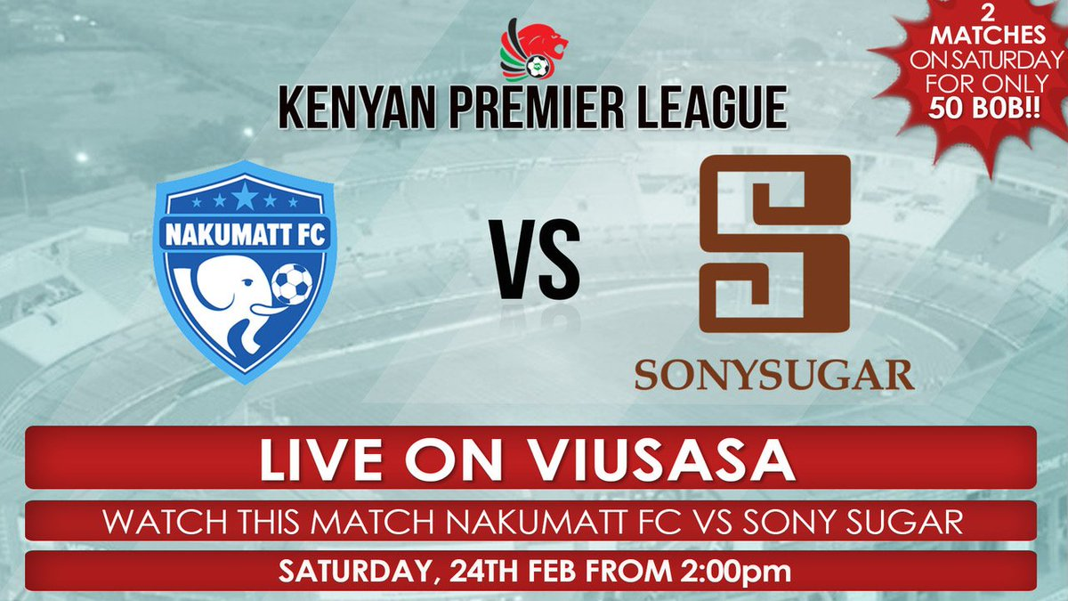 WELCOME TO KENYA'S NEW HOME FOR FOOTBALL !!  Watch LIVE Kenyan Premier League matches on @viusasa . Catch Nakumatt FC vs Sony Sugar tomorrow from 2.00 p.m Download the app from Google Play Store or App Store and enjoy watching ANYTIME, ANYWHERE.