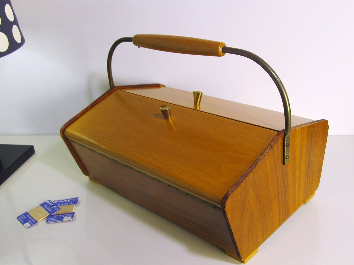 Vintage Sewing Box, Vintage Wooden Sewing Cabinet Wooden Storage Box Cabinet  Organizer Fold Out Wood Teak Box Sewing Basket Folk Decor 50s ...