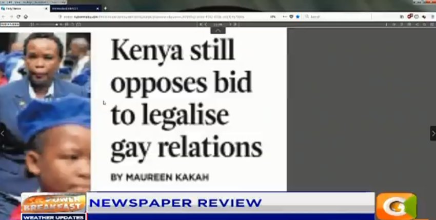 Jesse Oduor:  The law that we have is still against same sex marriages. Kenya is a very religious nation such a thing cannot be accepted in this country. #PowerBreakfast