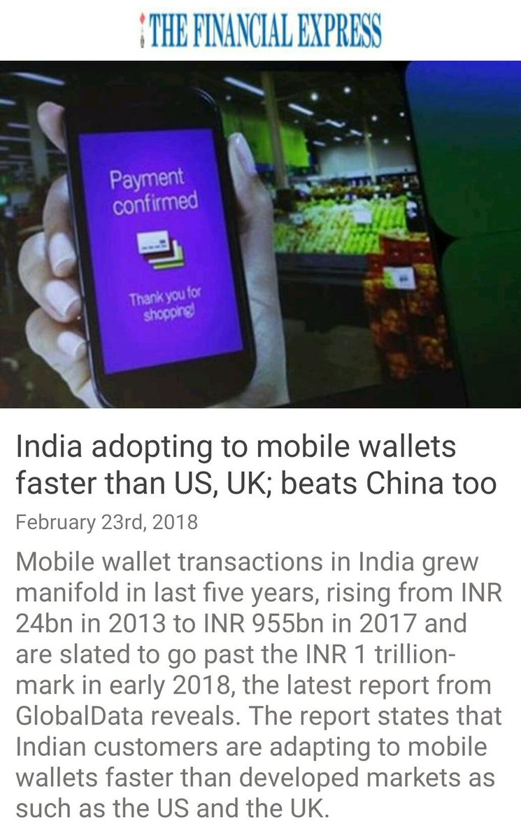 India adopting to mobile wallets faster...