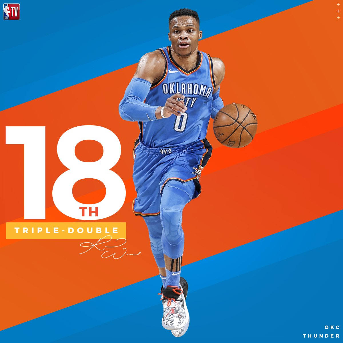What a night for Russell Westbrook!   ⚡️ Hits game-winner at the buzzer ⚡️ Grabs 18th triple-double of the season