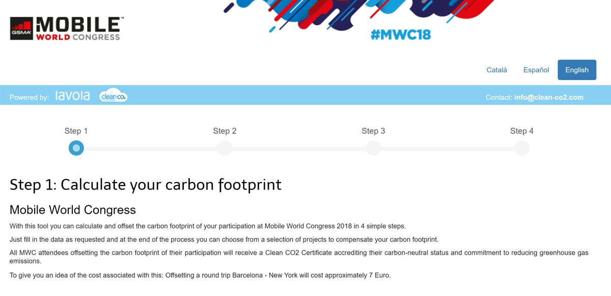 Calculate and offset the carbon footprint of your participation at #MWC18 in 4 simple steps with this new carbon footprint offset tool https://t.co/PkSrNlpzSU