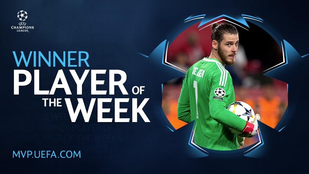 Following a classic #DaveSaves performance v Sevilla, @D_DeGea has been voted as the @ChampionsLeague Player of the Week! 👏