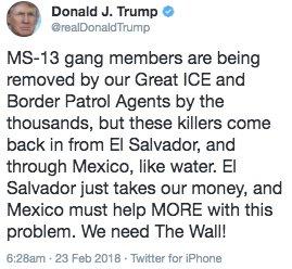 Risultati immagini per twitter trump el salvador