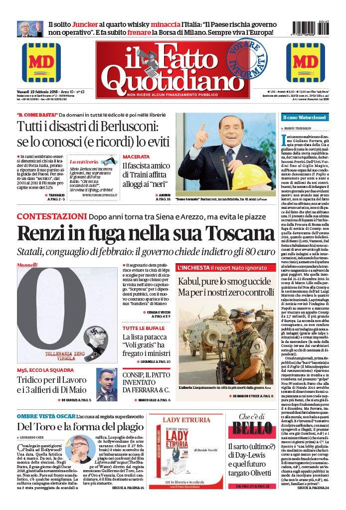 CONTESTAZIONI Renzi in fuga nella sua Toscana.  Dopo due anni torna tra Siena e Arezzo, ma evita le piazze LEGGI: https://t.co/WScu2YDEbu #FattoQuotidiano #edicola #23febbraio