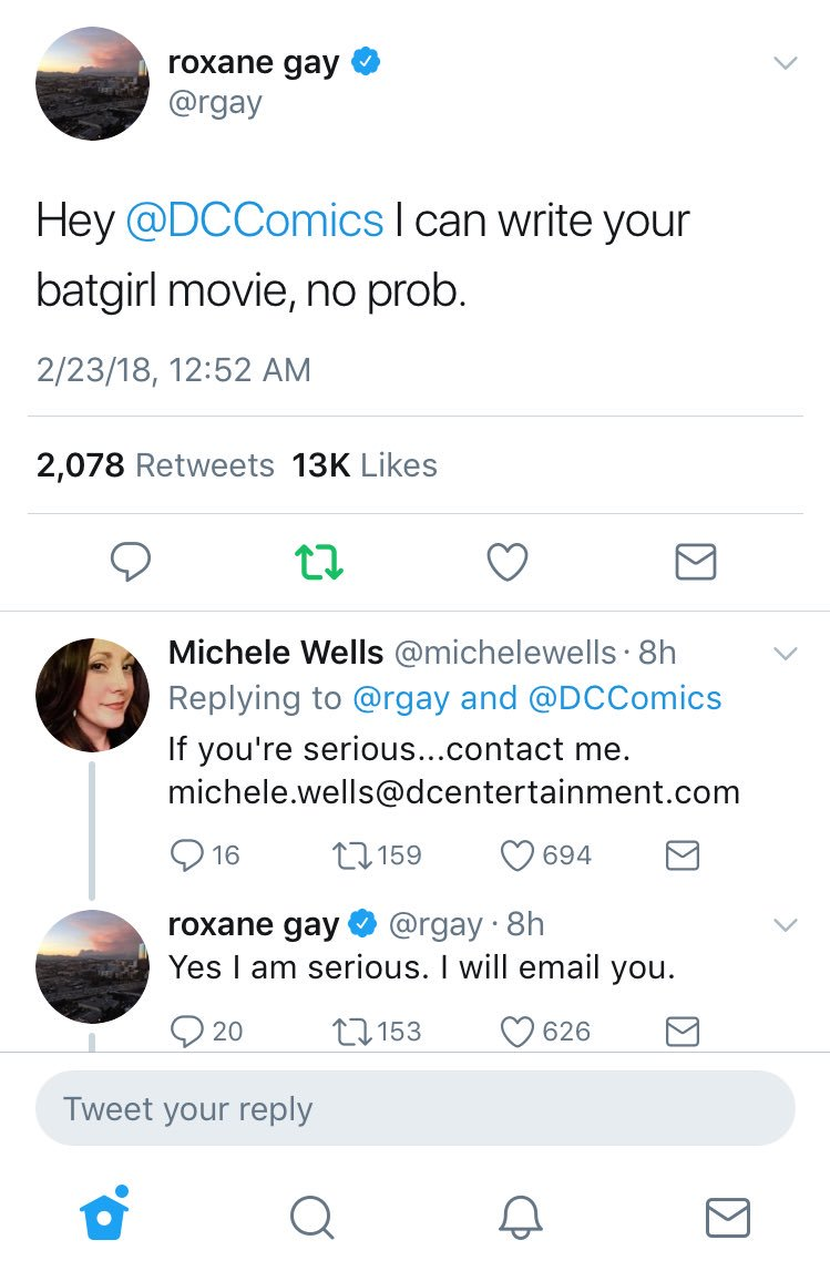 Writer Roxane Gay (@rgay) offers to write #BatGirl movie. Twitter does its thing. And now it could happen.