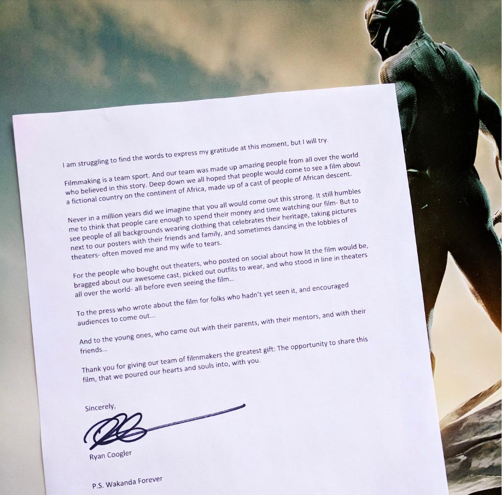 #BlackPanther director #RyanCoogler's letter of gratitude after the film's success has all the feels (📸 @Marvel). #WakandaForever