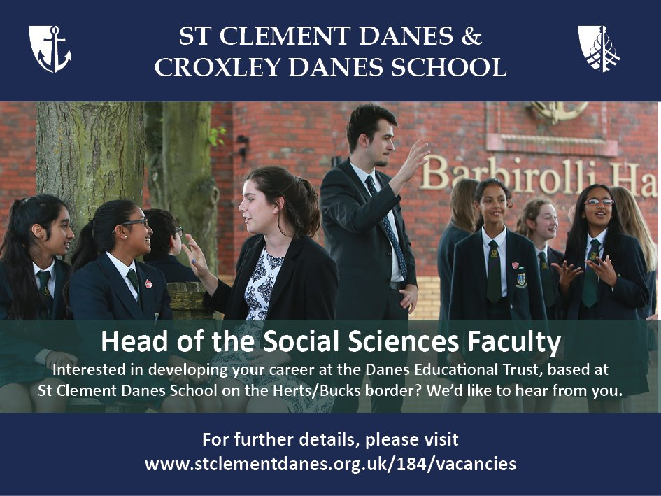 #teachingvacancyuk  Social Sciences Head of Faculty SouthEast Apply now: https://t.co/H3j3oPXnBM By: 5 March 2018 For: 1 Sept 2018 Exciting middle leadership role at St Clement Danes, an oversubscribed, successful school on the Herts/Bucks border. https://t.co/S4vSmeQOAk