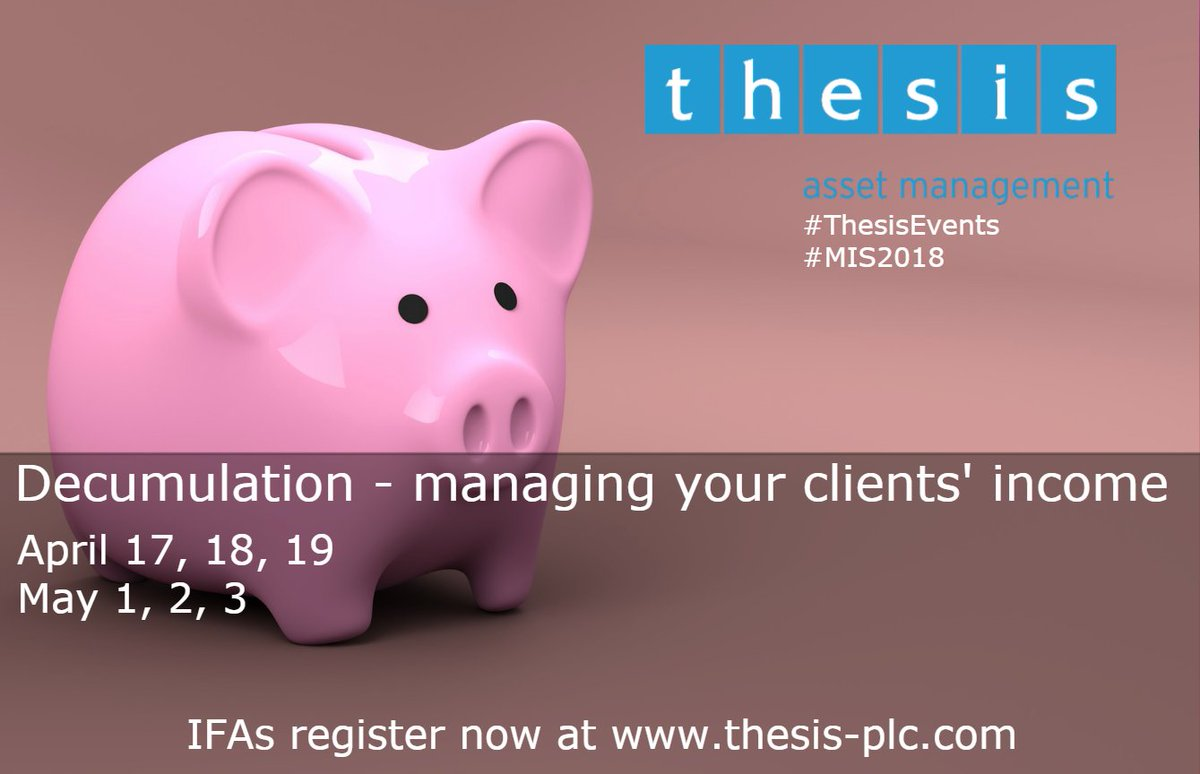 RT @ThesisAM Pound cost-ravaging, sequencing risk and volatility drag are just part of the new world of #decumulation. Find out more at one of our upcoming adviser events at the stunning @LoseleyPark. Register here: https://t.co/BPAINOS6CQ #ThesisEvents #MIS2018 #pension #retirement