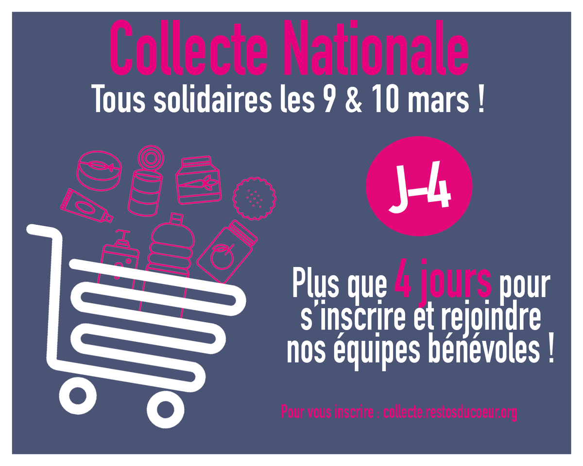 #CollecteNationale J-4   Encore 4 jours pour vous inscrire en tant que bénévole d\