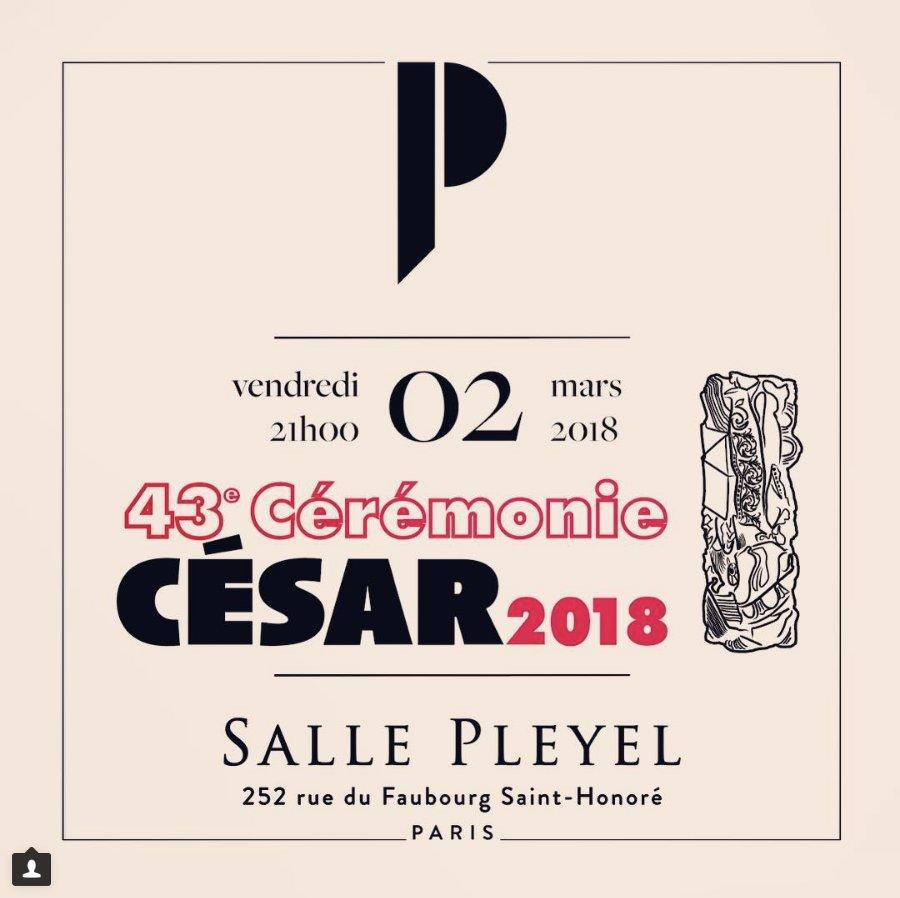 @Les_Cesar présenteront leur #43èmecérémoniedescésar vendredi 2 mars présenté par le Maître de Cérémonie @ManuPayetOff Elle se déroulera pour la 7e fois à la #sallepleyel  Diffusion en clair et en dir