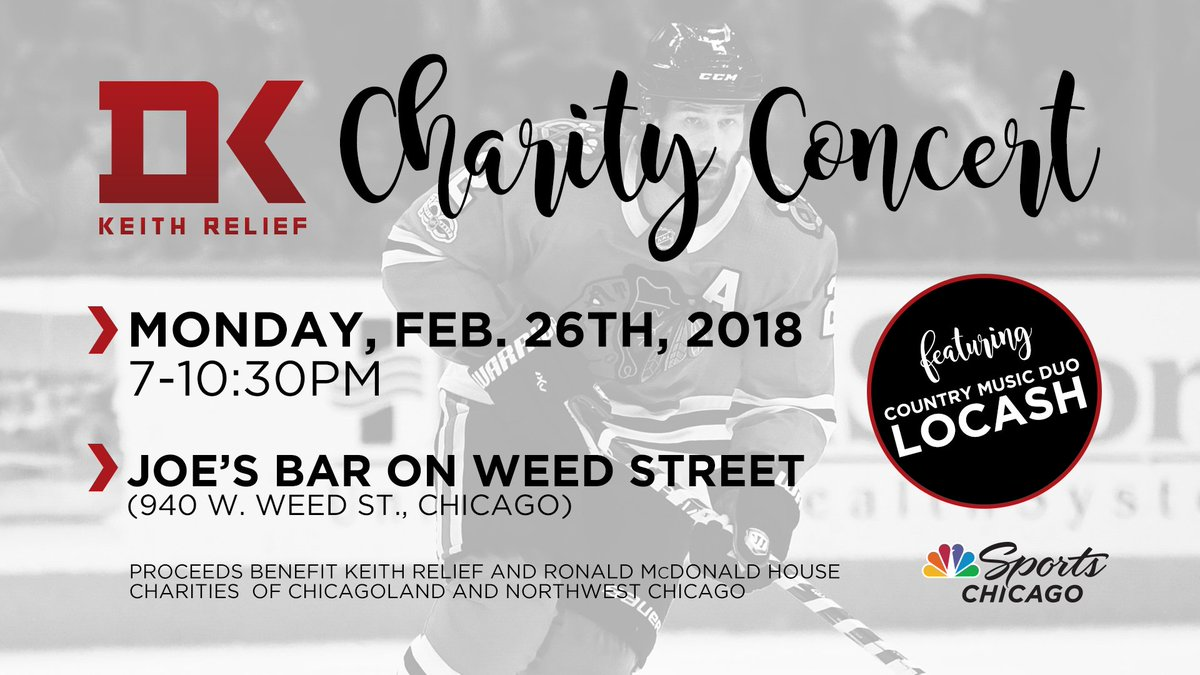 This Monday, @DuncanKeith and the @NHLBlackhawks host the annual KEITH RELIEF Charity Concert at @joesonweedst! Quote tweet with your favorite Keith moment for a chance to win a pair of tickets!  Tickets on sale at https://t.co/7P0lWHuAKO