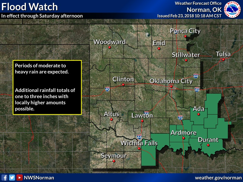 10:20AM- A flood watch is in effect for southern Oklahoma and parts of north Texas.   Periods of moderate to heavy rain are likely. Additional rainfall totals of one to three inches with locally  higher amounts possible. #okwx #texomawx