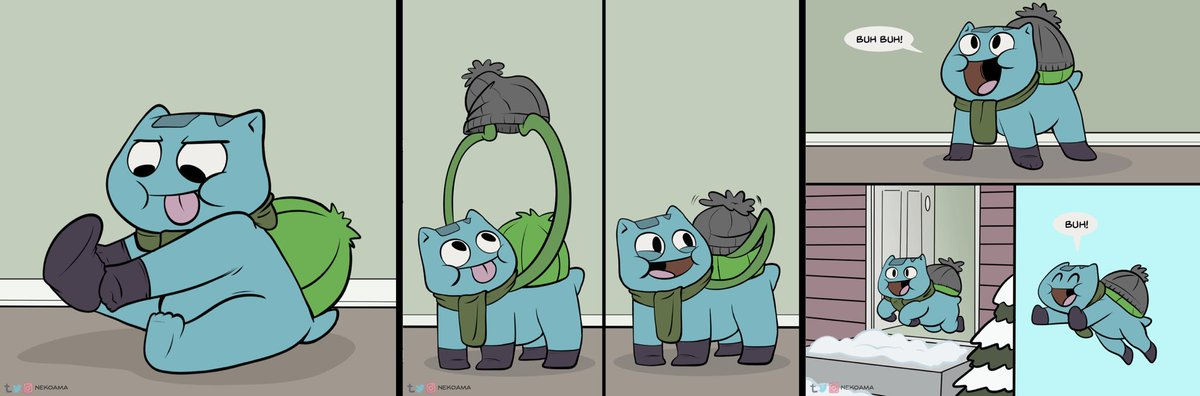 test Twitter Media - RT @nekoama: Bulbasaur Gets Dressed - a little snow day comic! https://t.co/MHr41HCDpP