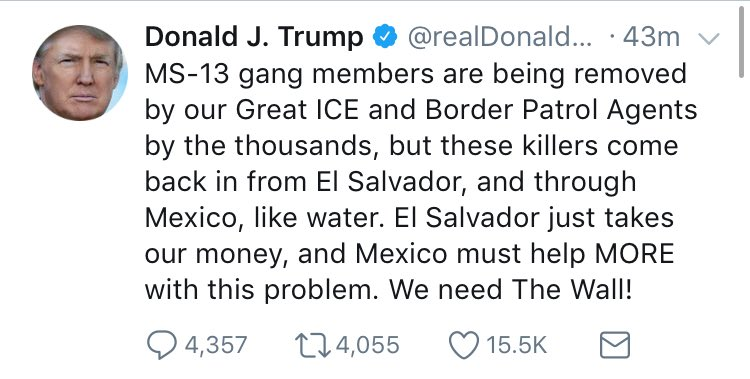 """By the thousands"" is a consistent exaggeration from Trump. The deputy director of ICE says 796, not thousands, of MS-13 ""members and associates"" were arrested (not deported) in the 2017 fiscal year - including US citizens. Activists say far from all of them are actually MS-13."