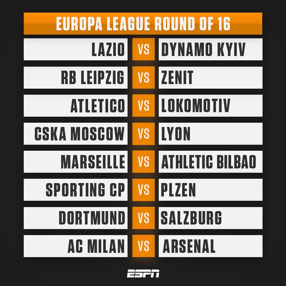 The full draw for the Europa League last 16.  Which game are you most looking forward to?  #UELdraw