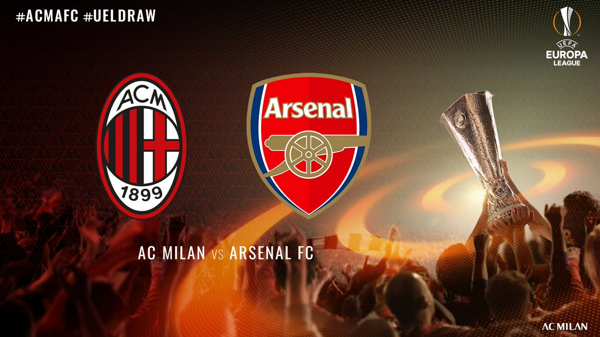 The #UELdraw has spoken: it's #ACMAFC 🏆 #Roundof16 First leg at San Siro on 8 March Return game at the Emirates Stadium in London on the 15th Agli Ottavi sfideremo l'@Arsenal! Andata a San Siro e ritorno a Londra ✈️