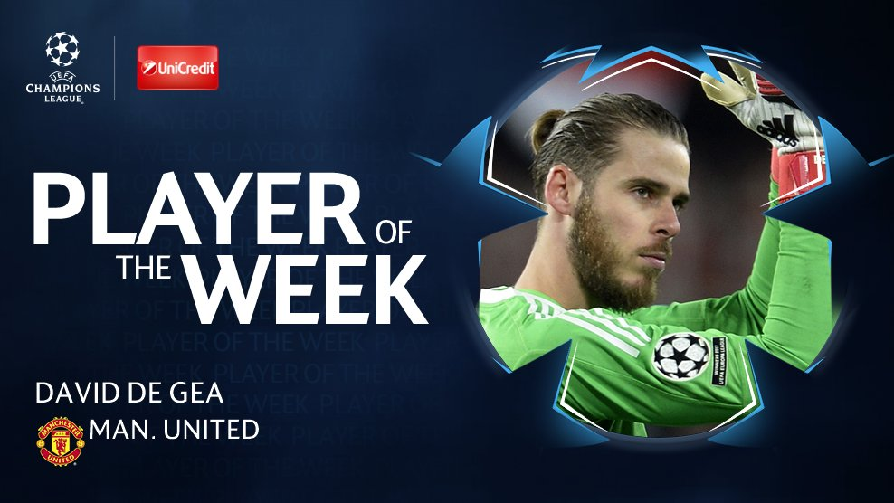 With 48% of the vote, @D_DeGea is your #UCL Player of the Week 👏👏👏  Best keeper in the competition?