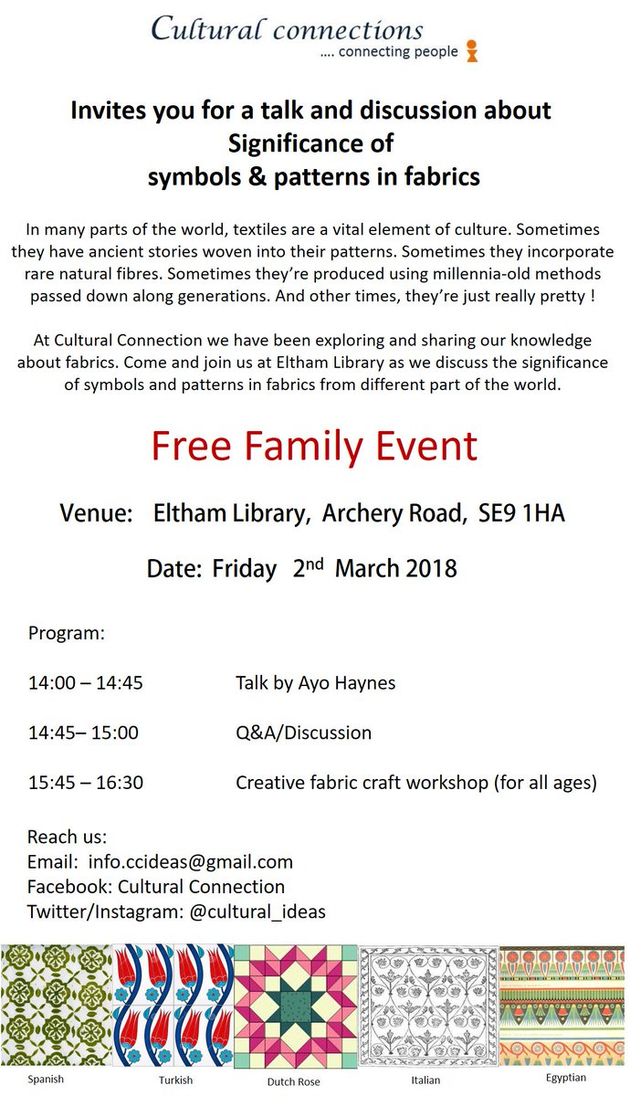 Freefamilyfun hashtag on twitter join us for discussion about significance of fabric symbolspatterns followed by family craft session at eltham library bellemarsh2 elthamarts biocorpaavc