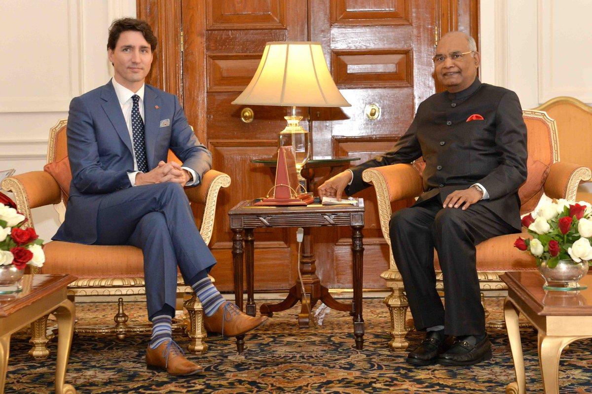 Canada PM @JustinTrudeau calls on President #RamNathKovind at @rashtrapatibhvn.