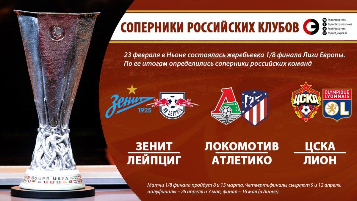 Итоги жеребьёвки 1/8 финала Лиги Европы.