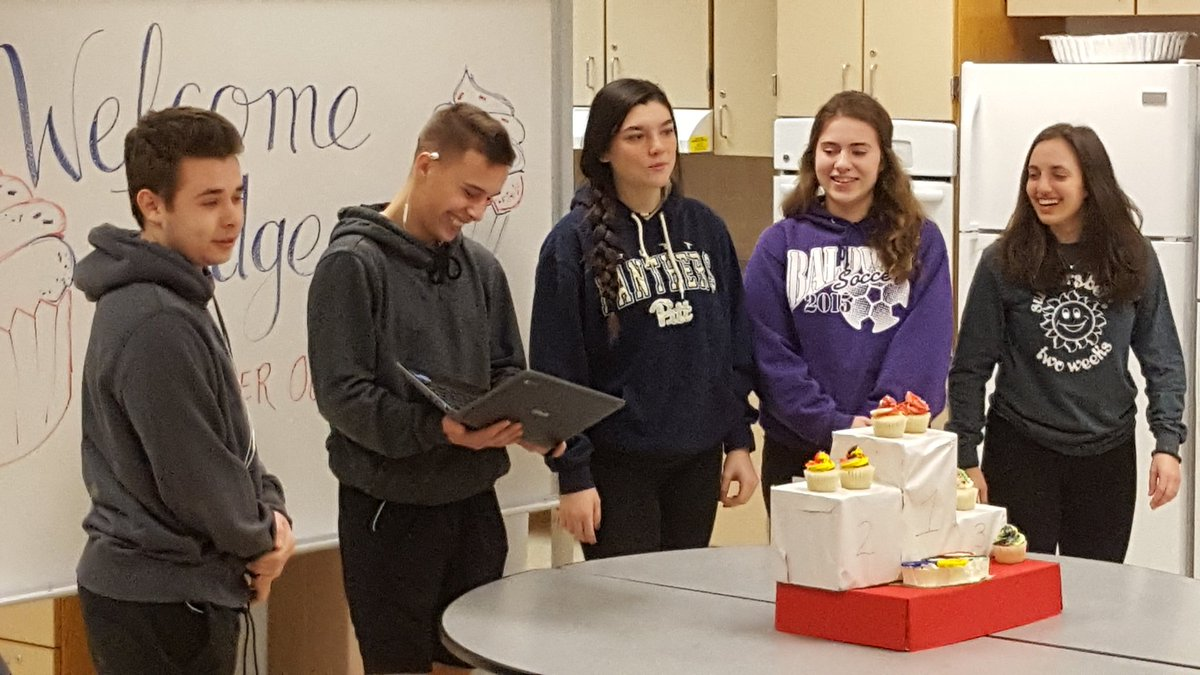 2018 Cupcake Wars at BHS.  Students presenting their goods to the judges.  These kids are awesome.  Great idea for skill application. And I ate every single one!!