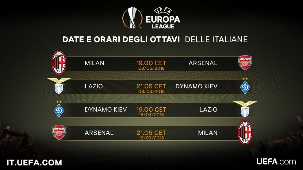 📅 Date e orari delle sfide di @acmilan 🔴⚫ e @OfficialSSLazio ⚪🔵 agli ottavi di #EuropaLeague #UEL #Milan #Lazio #UELdraw
