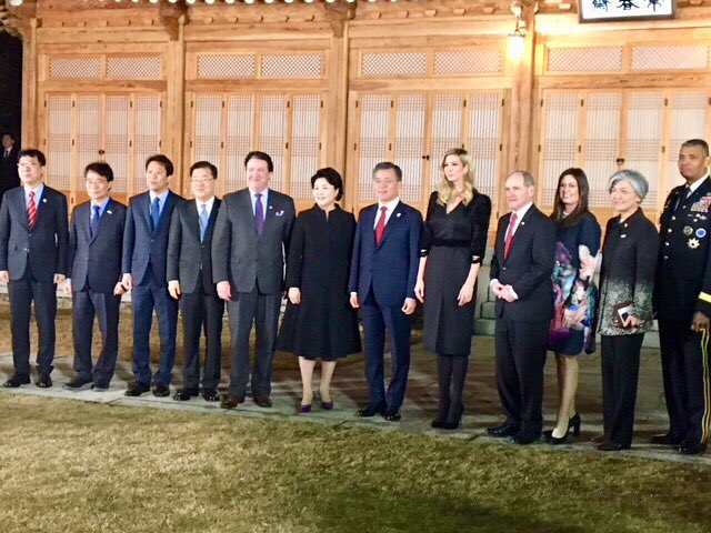 The Presidential Delegation for the 2018 Olympics joins President Moon, First Lady Kim, and Senior members of his admin for an incredible evening on the Blue House grounds to celebrate the Winter Games and the strong alliance between our two countries.