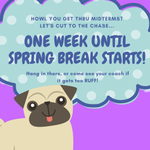 Can you believe its time for Midterms?  We are one week from Spring Break!!!! If things are getting to RUFF for you, come in and see your coach. #HPU365 #HPU2020 #HPU2021