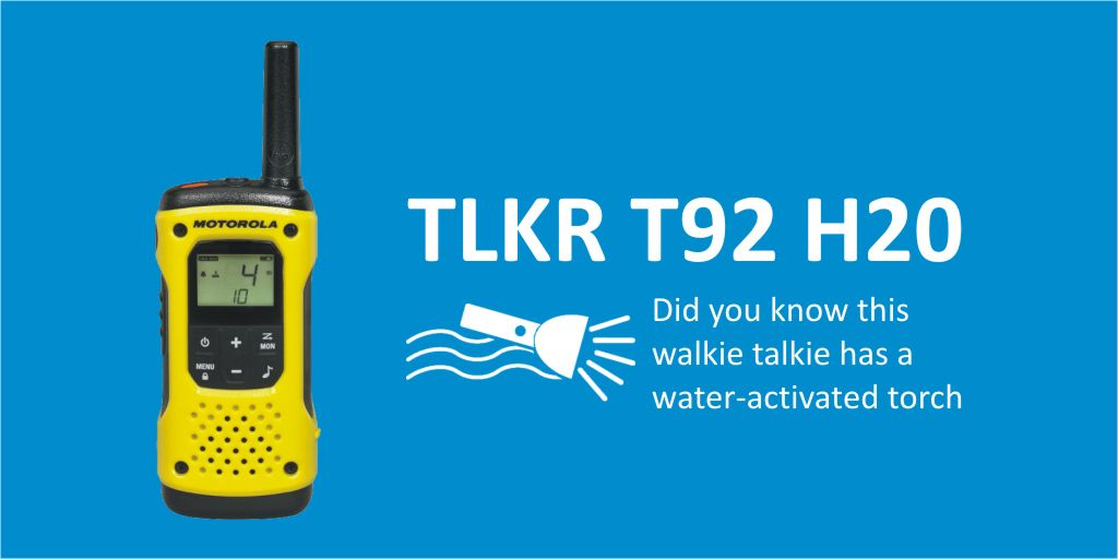 #PMR446Friday - Did you know the @MotSolsEMEA T92 H2O #Walkietalkie has a water-activated torch. Ideal for those outdoor activities!  Learn More https://t.co/QKLOssfiwO   #waterproofradio #twowayradio #lowcost #pmr446 #espo #heretosupportyou