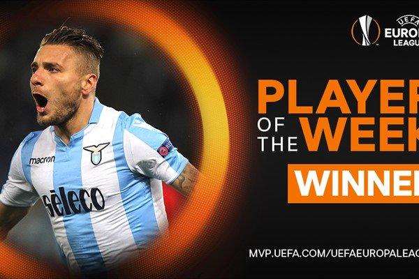 Bravo, @ciroimmobile 👏👏👏  Ieri: tre gol segnati per la @OfficialSSLazio ⚽ Oggi: eletto giocatore della settimana di #UEL  🏆