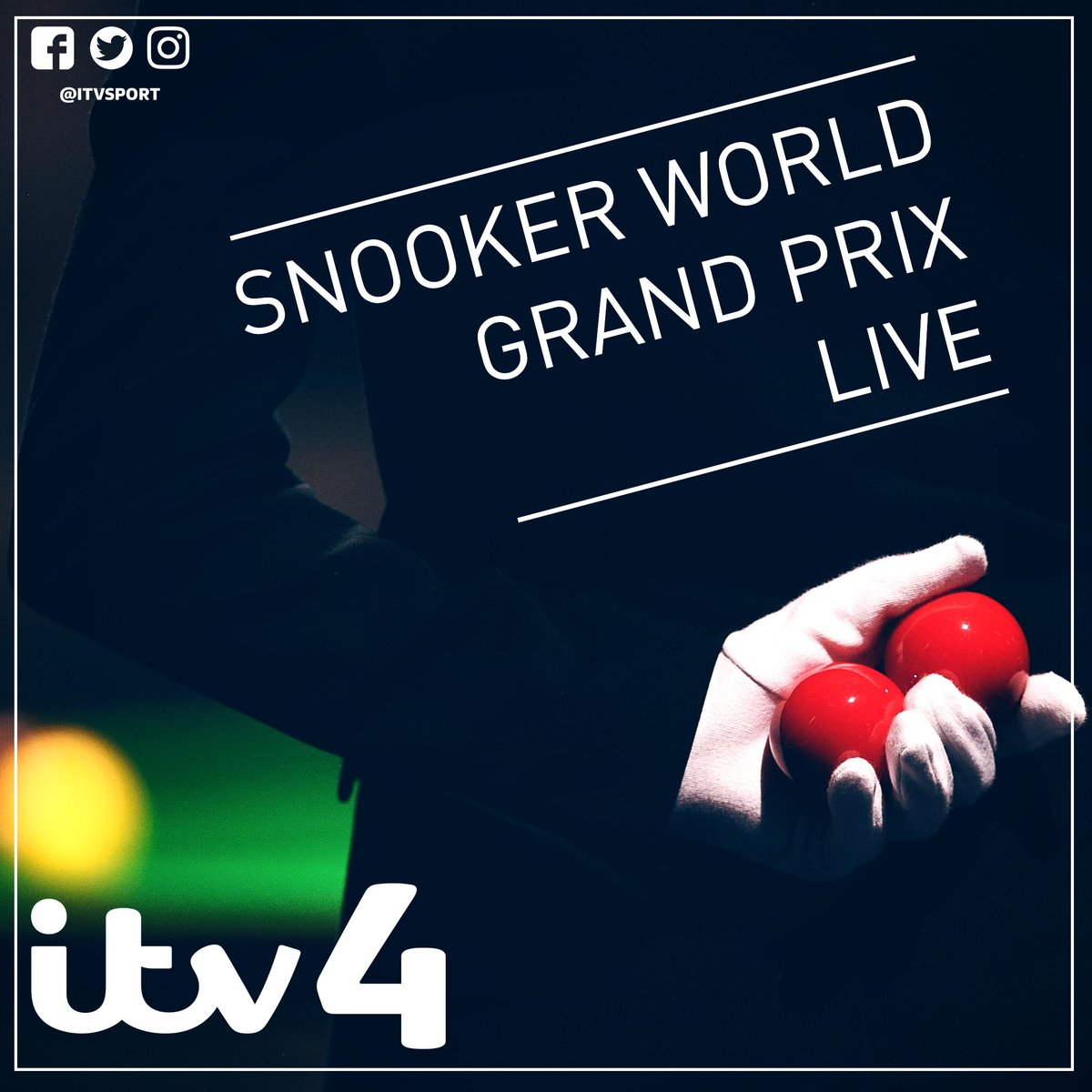 We are LIVE on @ITV4 for the World Grand Prix Snooker FINAL! Tune in now with @JillADouglas, @alan_mcmanus, @SHendry775 and @fouldsy147...