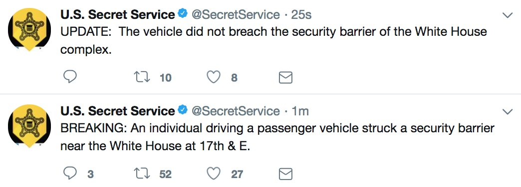 "JUST IN: Person driving a passenger vehicle struck a security barrier near the White House; ""Vehicle did not breach the security barrier of the White House complex,"" Secret Service says."