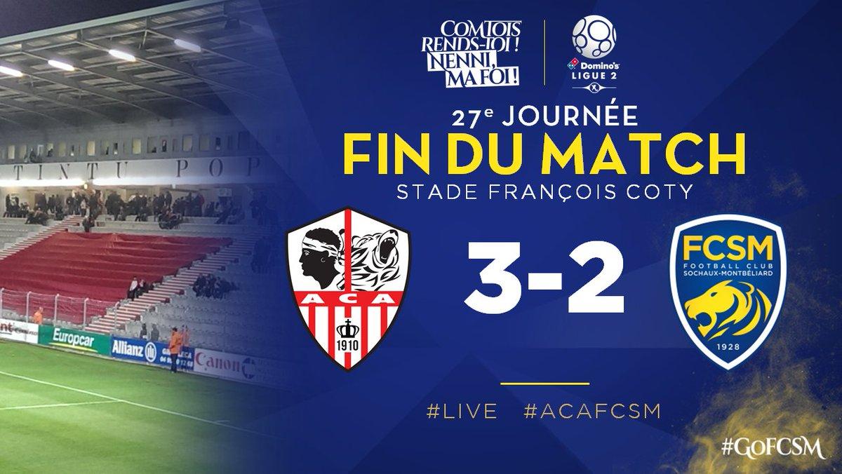 🔚 C'est terminé au Stade François Coty. L'@ACAjaccio s'impose dans les dernières minutes du match grâce à un double de Riad Nouri.. #ACAFCSM