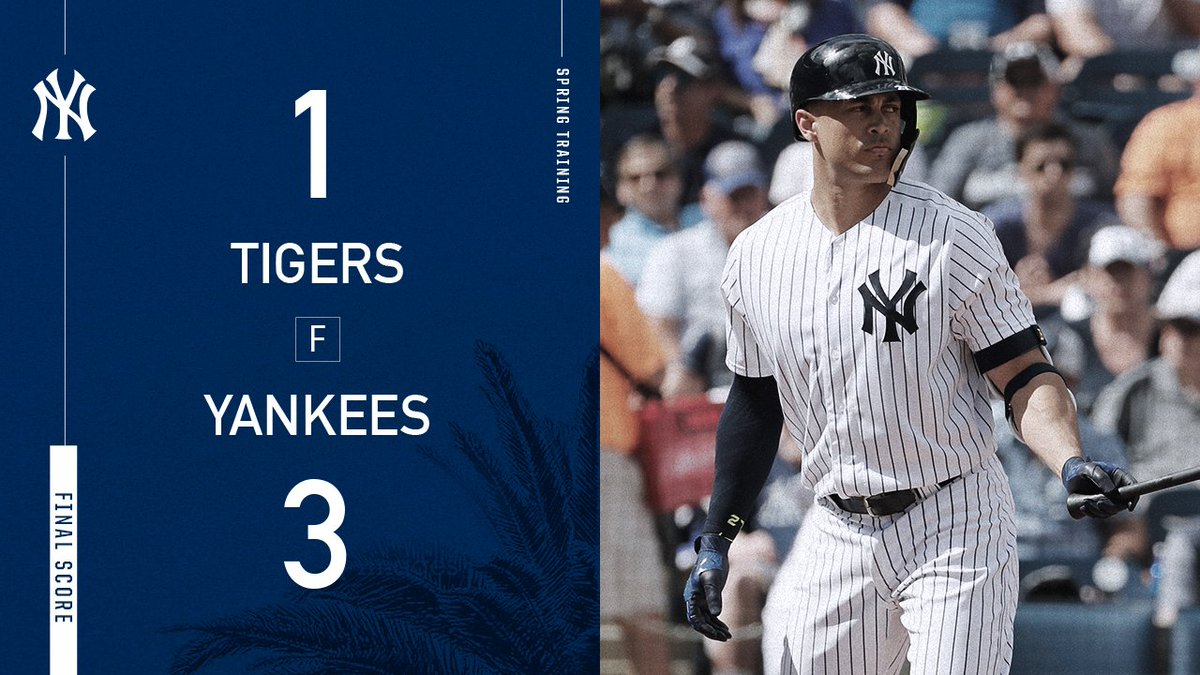#StartSpreadingTheNews FINAL: Yankees 3, Tigers 1  First win of Spring is in the books!