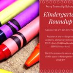 REMINDER: Perry Township Schools' kindergarten roundup event is scheduled for Tuesday, Feb. 27 from 5-7 p.m. to help parents/guardians register students who will enter kindergarten in the fall of 2018. The event will be held at multiple sites. READ MORE: https://t.co/SnPfEyTRHO