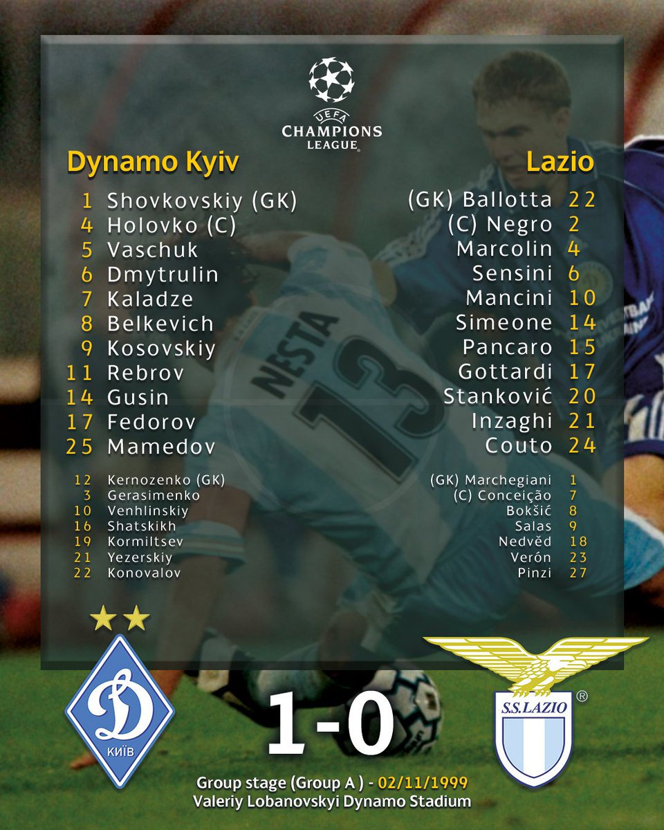 🤩 The line-ups from when Lazio last played Dynamo Kyiv!   Can you name the 3⃣ #UEL round of 16 coaches in there? 🤔  #UELdraw