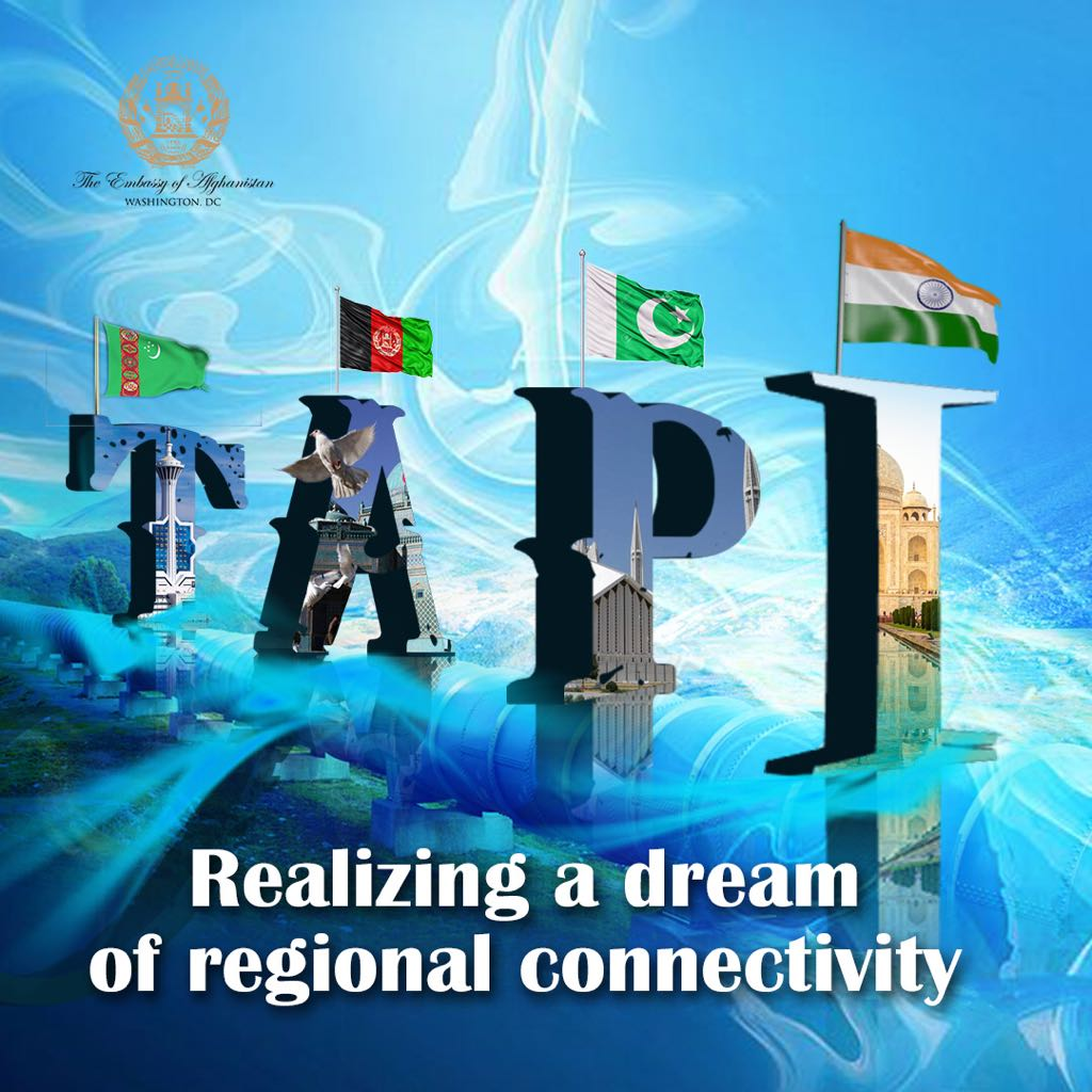 کار عملی پروژه تاپی امروز به گونه رسمی در ولایت هرات از سوی رهبران ا�غانستان، ترکمنستان، پاکستان و هند آغاز شد. تاپی گام بزرگی برای ر�اه ا�غانستان و منطقه شمرده میشود و باعث رشد و پیشر�ت تمام کشور های دخیل در این پروژه خواهد شد. رئیس جمهور غنی این پروژه را یک آغاز خوب توصی� نمود.