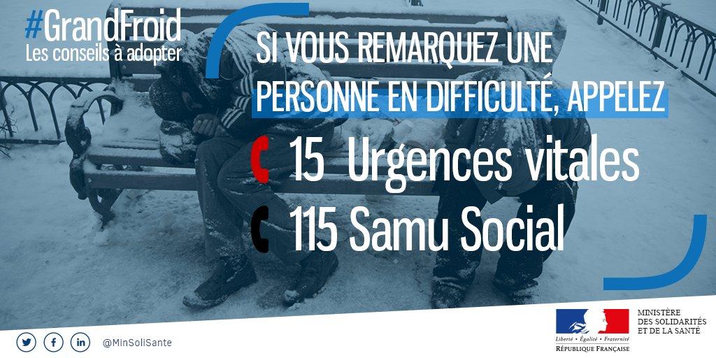🔴Ce soir, 37 départements sont en niveau d'alerte #GrandFroid❄  Si une personne sans-abri vous semble en grande difficulté :   📞 Composez le 115 (numéro d'urgence et d'accueil)  ☎ Composez le 15, en cas d'urgence vitale.