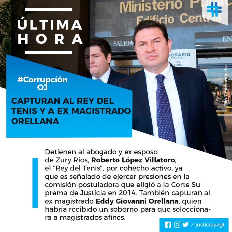 Ligado a las magistradas Vitalina Orellana y Patricia Valdés, López Villatoro es uno de los principales responsables de que el sistema de justicia Guatemalteco esté cooptado. Hoy es capturado por su rol en la elección de la actual CSJ. #JusticiaYa