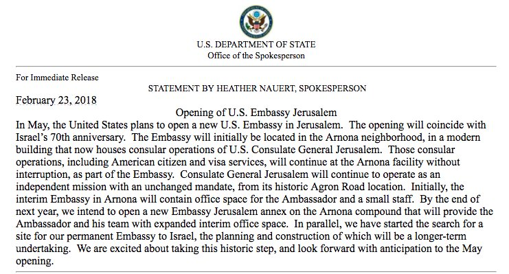 NEW: State Department confirms the U.S. plans to open its new embassy in Jerusalem in May https://t.co/5SYNZblHd6