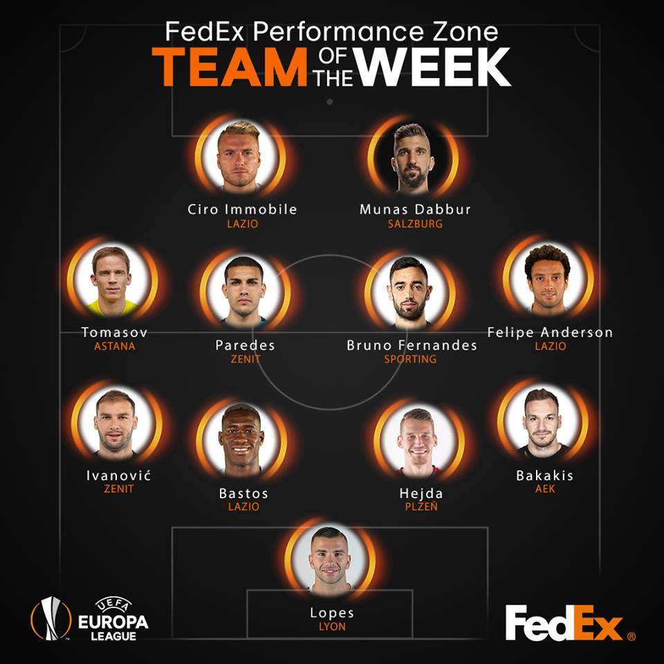👏👏👏 3⃣ giocatori della @OfficialSSLazio nella Squadra della Settimana di @EuropaLeague...  ...e naturalmente non poteva mancare @ciroimmobile, autore di 3⃣ gol! #UEL