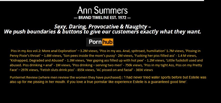 Not Sure Having Someone Urinate Into Your Mouth Or Other Orifices Is Empowering Come On Ann Summers Dump Pornhhub Sexwork Abuse Pornhubprotest Radfem