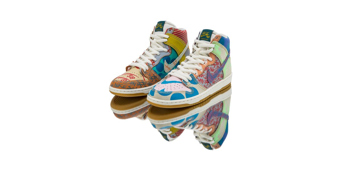 half off 7905d 7ac33 ... Thomas Campbell, teamed up with Nike to create a multi-pattern SB that  blends colors and textures, the Nike SB Zoom Dunk High Premium