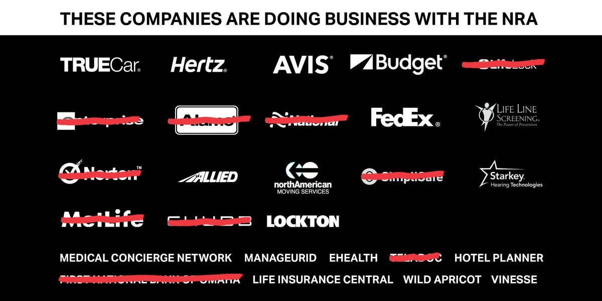 FULLY UPDATED, REVISED AND EXPANDED: The NRA is being supported by these companies https://t.co/9eHoI3wowN