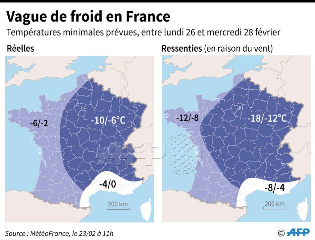 Carte des prévisions de températures, réelles et ressenties, entre le 26 et le 28 février, en raison du 'phénomène Moscou Paris' qui va provoquer une vague de froid en France #AFP