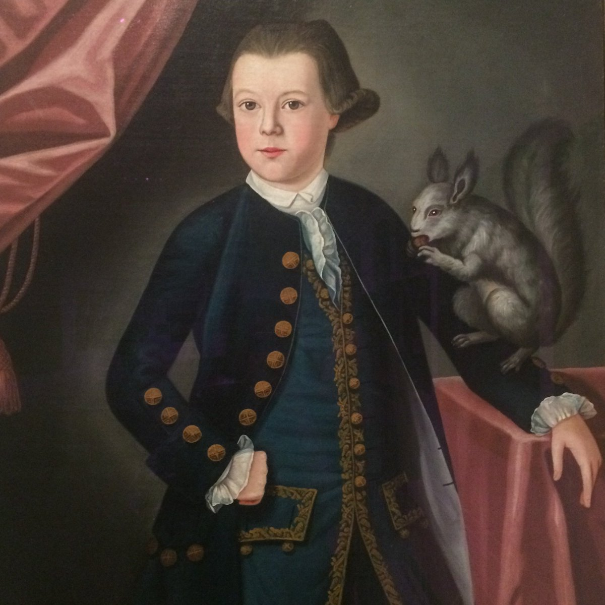 COLONIAL MAN: My kid wants his pet squirrel in the portrait, is that cool? PORTRAIT ARTIST: Yeah, sure.  COLONIAL MAN: Do you know how to draw a squirrel?  PORTRAIT ARTIST: I know how to draw a black-eyed demon from the deepest pits of Hell.  COLONIAL MAN: Close enough.