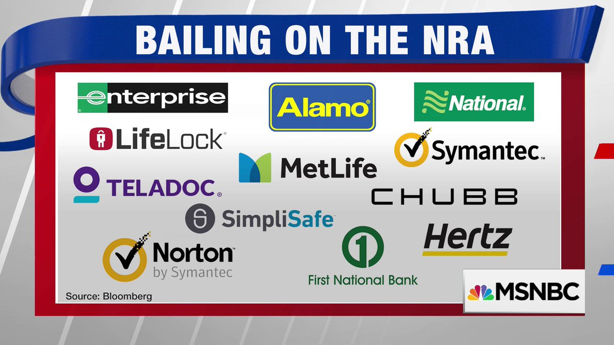 Companies that have bailed on the NRA so far.
