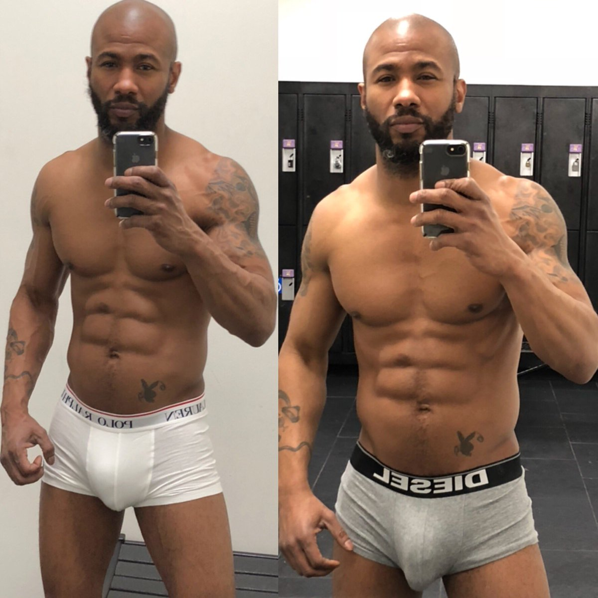 Sexy black men with abs