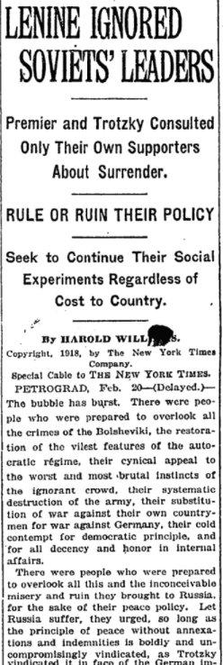 Feb 23, 1918 - New York Times: Fingers of blame in Russia point toward Lenin #100yearsago